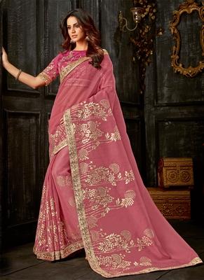 Dark pink printed tissue saree with blouse