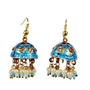 Rajasthani Turquoise Lacquer Fancy Jhumka Earrings