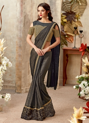 Black plain lycra saree with blouse