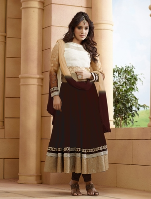 Brown embroidered georgette salwar