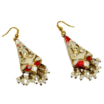 Rajasthani Lacquer Ivory White Fashion Earrings