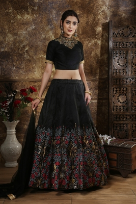 Black sequins embroidered thai silk unstitched lehenga choli with dupatta