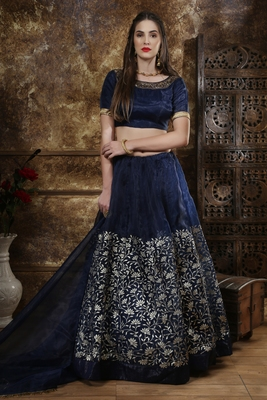 Navy-blue sequins embroidered organza unstitched lehenga choli with dupatta