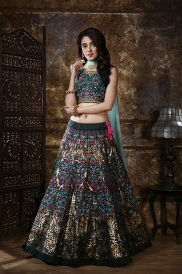 Green sequins embroidered silk unstitched lehenga choli with dupatta
