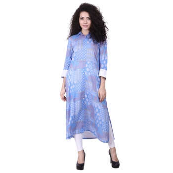 Blue Printed Viscose Kurti
