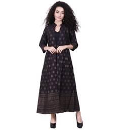 Black printed silk kurtas-and-kurtis