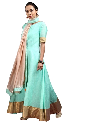Sea-green fancy georgette salwar