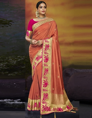 Peach embroidered silk blend saree with blouse