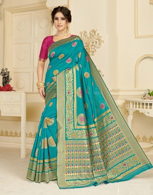 Sky blue woven silk blend saree with blouse