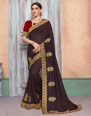 Dark brown embroidered silk blend saree with blouse