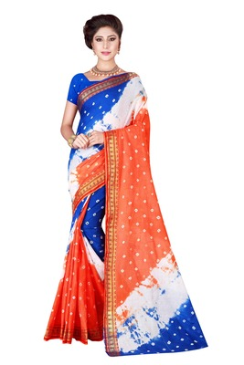 Multicolor hand woven art silk saree with blouse
