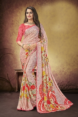 Baby pink printed satin saree with blouse