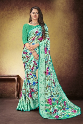 Cyan Printed Satin Saree With Blouse