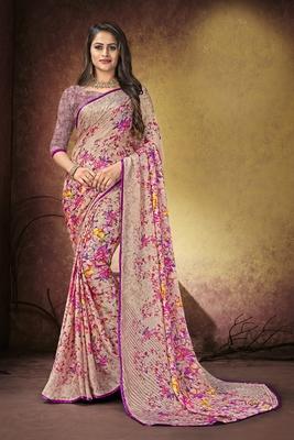 Light purple printed satin saree with blouse