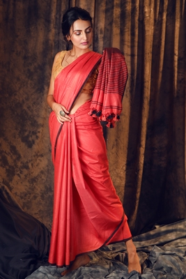 RED COTTON BLENDED LINEN SAREE WITH STRIPES PALLU