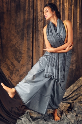 Light grey woven cotton saree with blouse