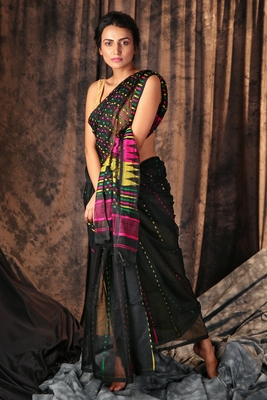 Black hand woven blended cotton saree