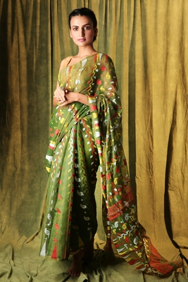 Olive hand woven blended cotton saree