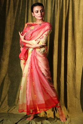 Beige hand woven blended cotton saree
