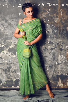Green hand woven blended cotton saree