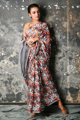 Grey hand woven blended cotton saree