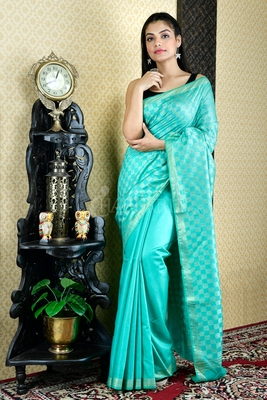 Cyan woven blended cotton saree with blouse