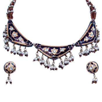 Fashionable Brown Shining Necklace Earrings Set