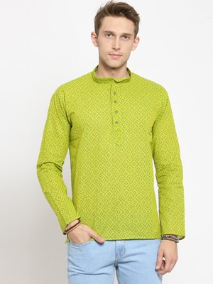 Green plain cotton men-kurtas