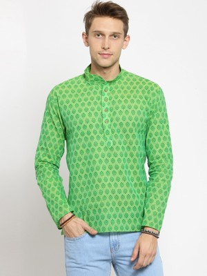 Green plain cotton men-kurtas