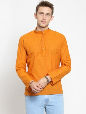 Orange plain cotton men-kurtas