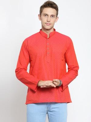 Red plain cotton men-kurtas