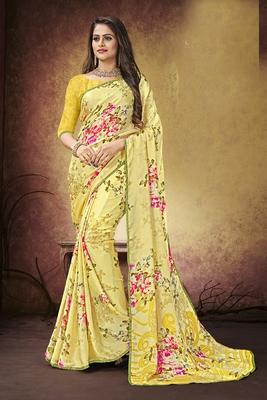Yellow printed satin saree with blouse