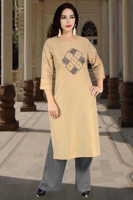 Beige Embroidered Silk Silk Kurtis