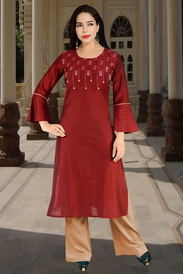 Maroon embroidered silk silk-kurtis