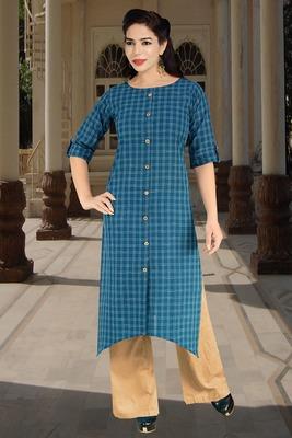 Blue printed cotton cotton-kurtis