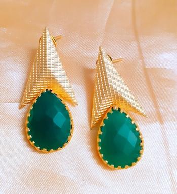 Green agate danglers-drops