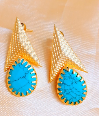 Turquoise agate danglers-drops