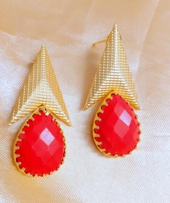 Red agate danglers-drops
