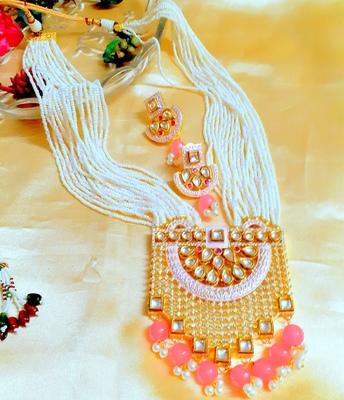 Wedding Exclusive Long Royal Pink Kundan Necklace Sets