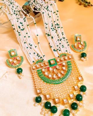 Wedding Exclusive Green kundan necklace-sets