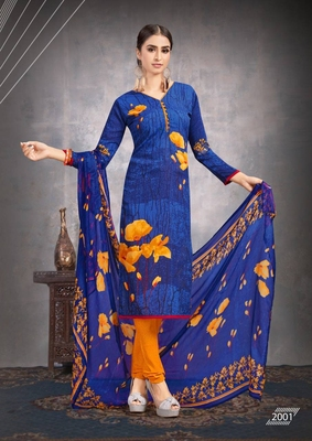 Royal-blue floral print crepe salwar