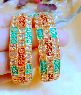 Gold cubic zirconia bangles and bracelets pair