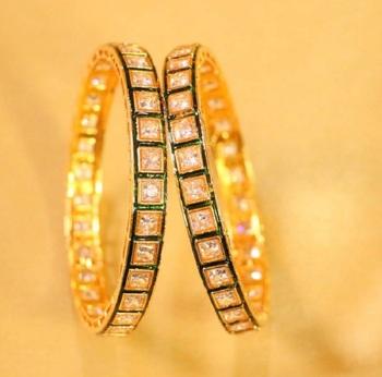 Gold agate kundan  bangles and bracelets