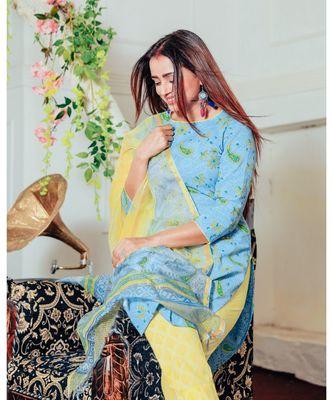 Teal Blue Handblock Suit With Dupatta