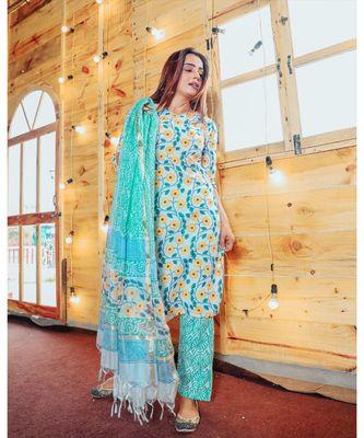 Sapphire Floral Suit Set With Kota Doriya