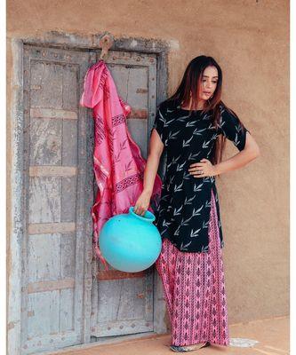 Ink Black Handblock Print Suit Set With Kota Doriya Dupatta