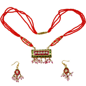 Designer Meenakari Red Green Lacquer Necklace Set