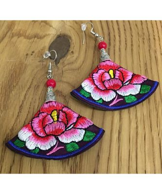 Women Traditional Silver Plated Oxidised lightweight Multi-color Embroidery Floral and beads Hook Earrings Jewellery
