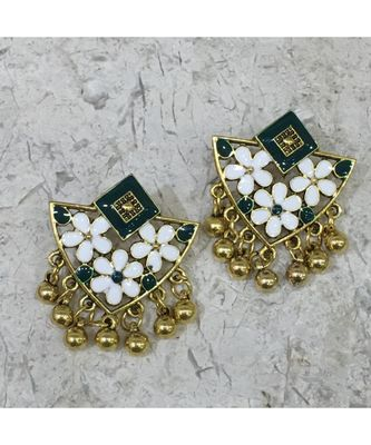 Women Traditional Jewellery Gold Plated Oxidised Alloy Stud Earrings Green Floral Enamel Work Ghungroo Earrings