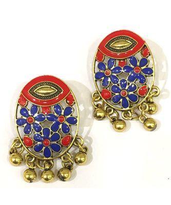 Women Traditional Jewellery Gold Plated Oxidised Alloy Stud Earrings Red Floral Enamel Work Ghungroo Earrings